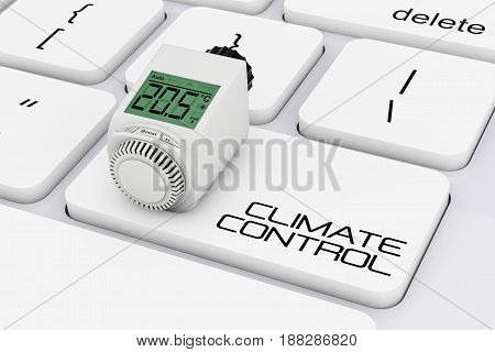 Digital Wireless Radiator Thermostatic Valve over Computer Keyboard with Climate Control Sign extreme closeup. 3d Rendering.