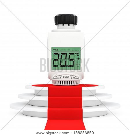 Digital Wireless Radiator Thermostatic Valve over Round White Pedestal with Steps and a Red Carpet on a white backgroundl. 3d Rendering.