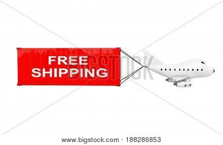 Cartoon Toy Jet Airplane Carry Cargo Container with Free Shipping Sign on a white background. 3d Rendering.