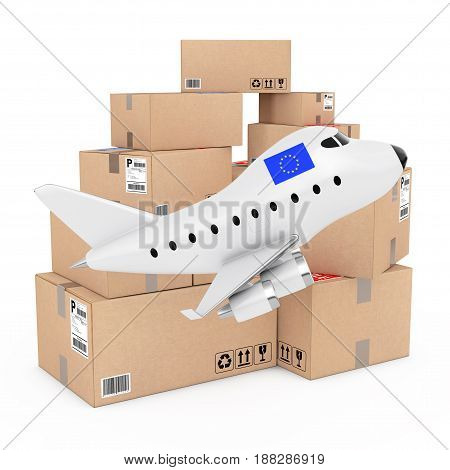 Air Cargo Concept. Cartoon Toy Jet Airplane with Europian Union Flag near Boxes of Goods on a white background. 3d Rendering.