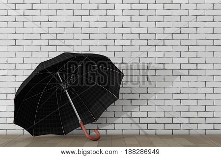 Big Modern Luxury Umbrella in front of brick wall. 3d Rendering.