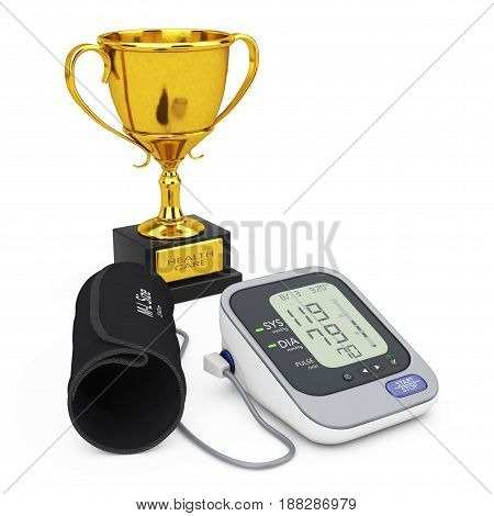 Digital Blood Pressure Monitor with Cuff and Golden Trophy on a white background. 3d Rendering.