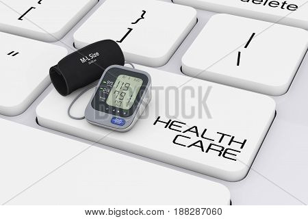 Digital Blood Pressure Monitor with Cuff over Computer Keyboard with Health Care Sign extreme closeup. 3d Rendering.