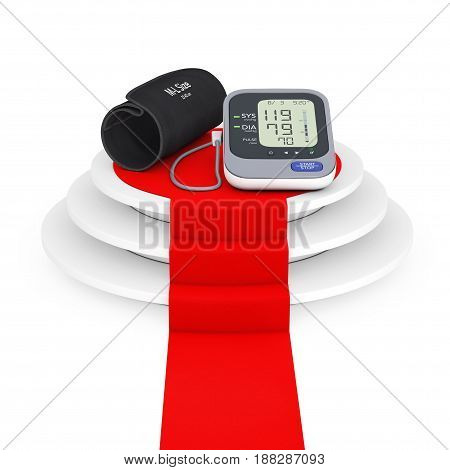 Digital Blood Pressure Monitor with Cuff over Winner Podium with Red Carpet on a white background. 3d Rendering.