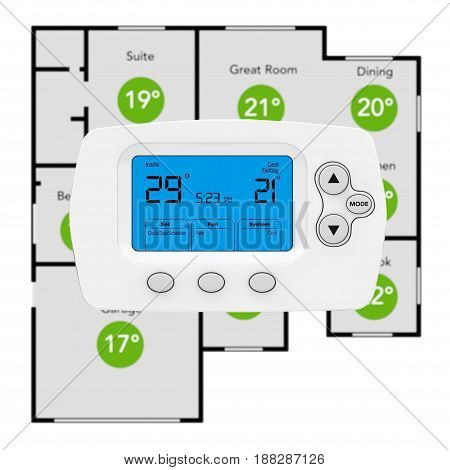 Modern Programming Thermostat and Climate Control System with Home Plane on a white background. 3d Rendering.