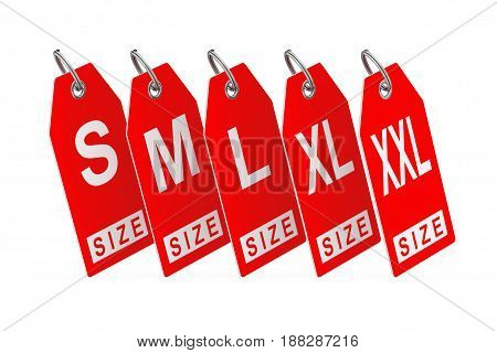 Dress Tags with Size Sign on a white background. 3d Rendering.