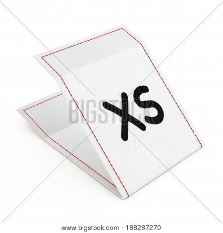 Fabric Dress Tag with Extra Small Size Sign on a white background. 3d Rendering.