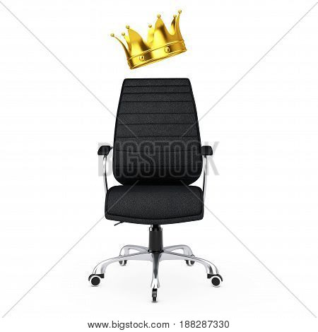 Black Leather Boss Office Chair with Golden Crown on a white backgroundl. 3d Rendering.