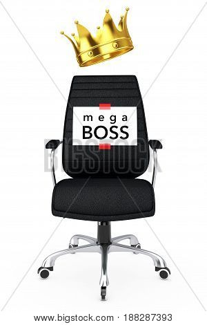 Paper Sheet with Mega Boss Message over Black Leather Boss Office Chair with Golden Crown on a white backgroundl. 3d Rendering.