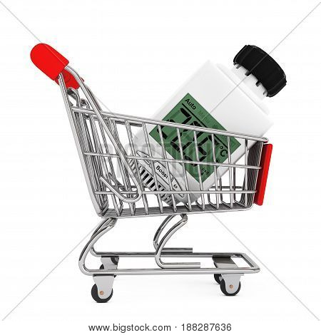 Digital Wireless Radiator Thermostatic Valve in Shopping Cart on a white background. 3d Rendering.