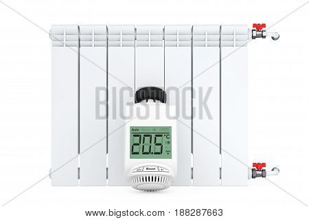 Digital Wireless Radiator Thermostatic Valve near Radiator on a white background. 3d Rendering.