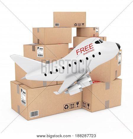 Air Cargo Concept. Cartoon Toy Jet Airplane with Free Shipping Sign near Boxes of Goods on a white background. 3d Rendering.