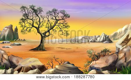 Rural Landscape with a Lone Tree in the Hills Surrounded by Mountain above the yellow sky. Digital Painting Background Illustration in cartoon style character.