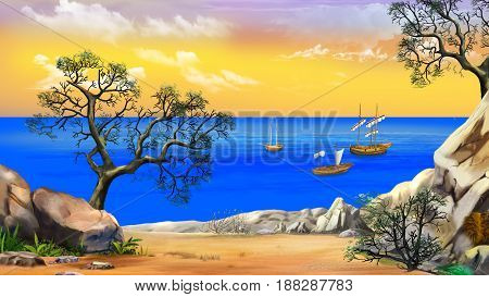 Idyllic View of the bay with sailboats. Shore of the ocean coast of desert island. Summer day yellow sky. Digital Painting Background Illustration in cartoon style character.