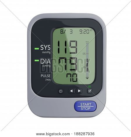 Digital Blood Pressure Monitor on a white background. 3d Rendering.