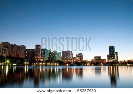 Orlando Florida Downtown Skyline At Night