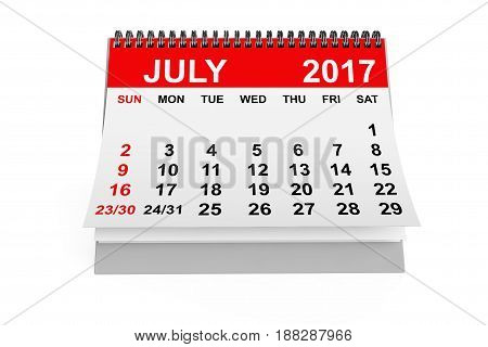2017 year calendar. July calendar on a white background. 3d rendering