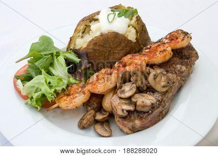 Stake And Shrimp Dinner