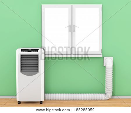 Portable Mobile Room Air Conditioner with Hose connected to Window in Room extreme closeup. 3d Rendering.