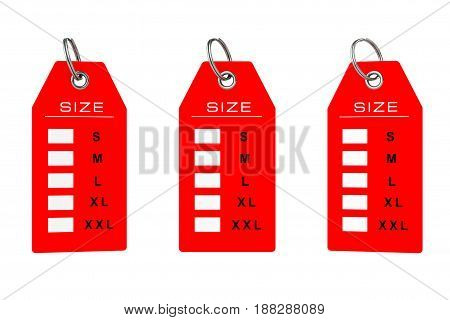 Dress Tag with Size Sign on a white background. 3d Rendering.