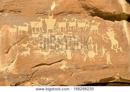The Hunter's Panel is a petroglyph created by the Freemont Indians and is located in Nine Mile Canyon Utah. The petrogylph is also referred to as the Cottonwood Panel and The Great Hunt