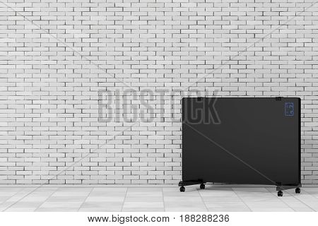 Mobile Convection Heater Radiator in front of brick wall. 3d Rendering.