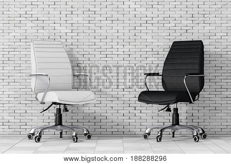Black and White Leather Boss Office Chairs in front of brick wall. 3d Rendering.