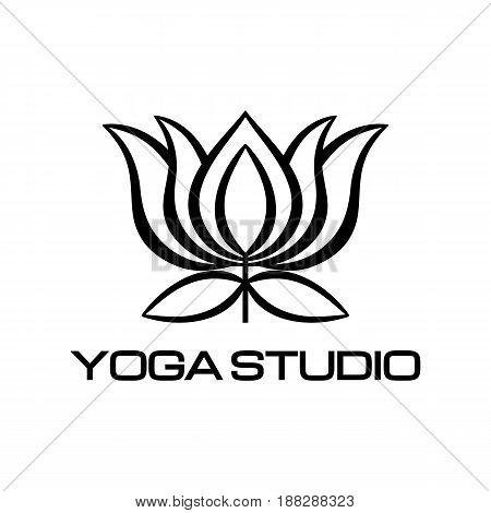 Lotus flower symbol logo fitness wellness studio yoga decorative design art banner vector on isolated white background