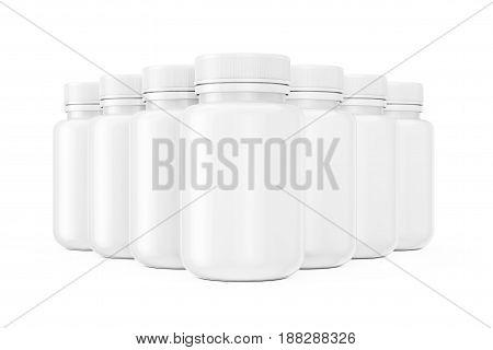 Rows of White Blank Plastic Pills Bottles on a white background. 3d Rendering.