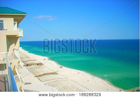 Emerald green water and white sand beaches of Florida