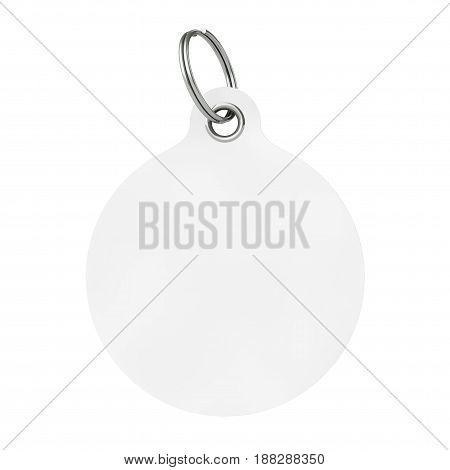White Blank Tag with Metal Ring on a white background. 3d Rendering.