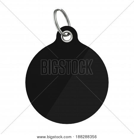 Black Blank Tag with Metal Ring on a white background. 3d Rendering.