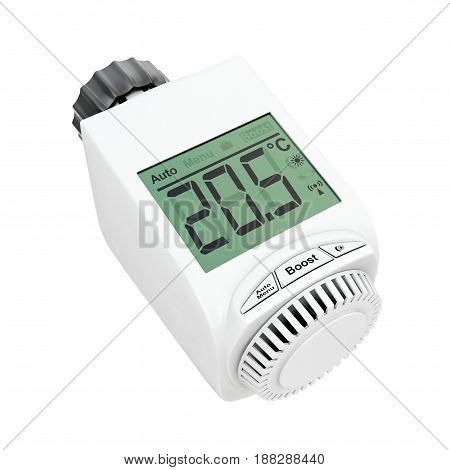 Digital Wireless Radiator Thermostatic Valve on a white background. 3d Rendering.
