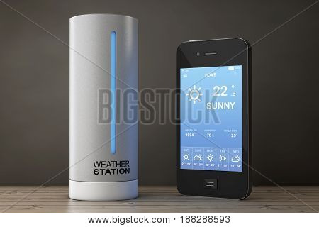 Modern Digital Wireless Home Weather Station with Mobile Phone with Weather on Screen on a wooden table. 3d Rendering.