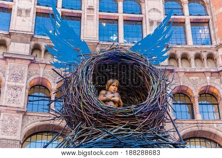 London England - 9 April 2017 - Harry Potter And The Cursed Child model displays in front of the theater bulding in London England on April 9 2017