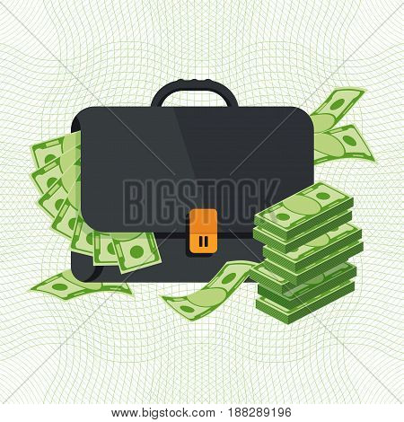 Black Briefcase With Banknotes