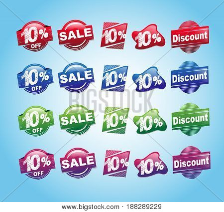 set of 10 percent stickers with various colors .