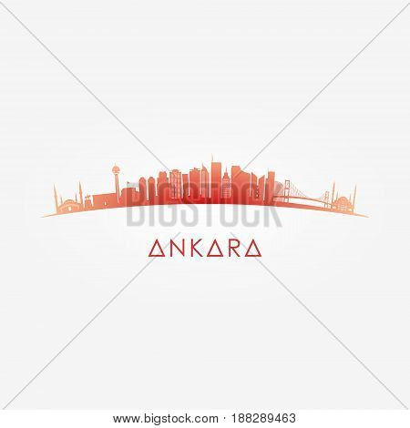 Ankara Turkey skyline silhouette. Vector design background.