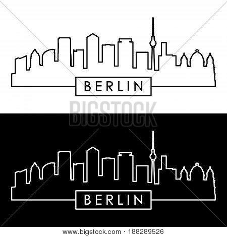 Berlin skyline. Linear style. Editable vector file.