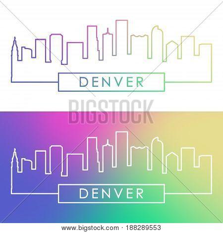Denver skyline. Colorful linear style. Editable vector file.
