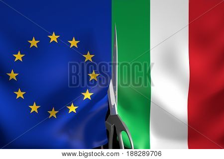 Italy exit from Eurozone and European Union concept, 3D rendering