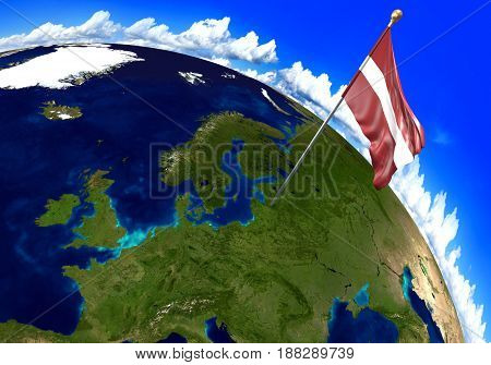 Latvia national flag marking the country location on world map. 3D rendering, parts of this image furnished by NASA