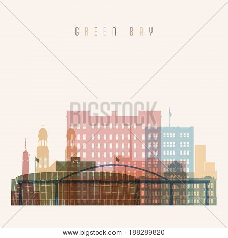 Transparent style Green Bay state Wisconsin skyline detailed silhouette. Trendy vector illustration