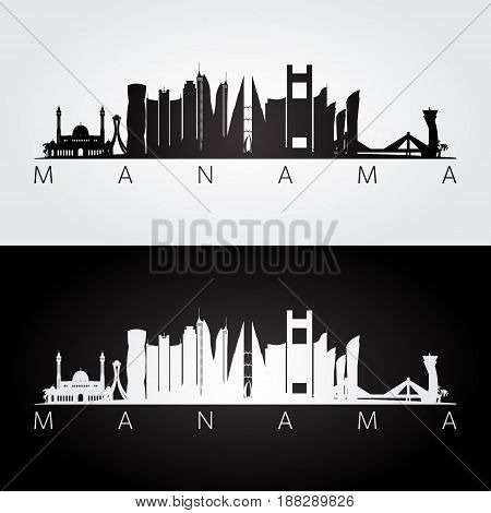 Manama skyline and landmarks silhouette black and white design vector illustration.