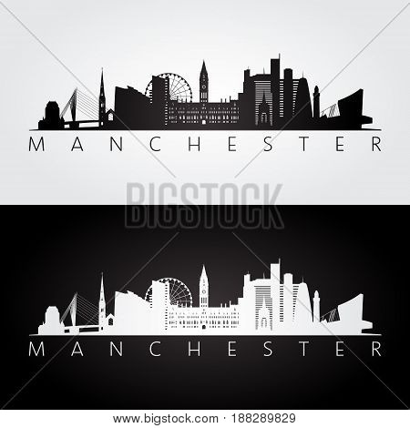 Manchester skyline and landmarks silhouette black and white design vector illustration.