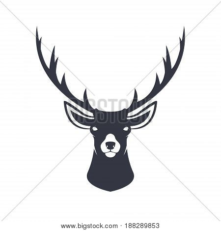 Stylized reindeer head. Wild animal. Vector illustration.