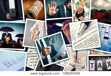 Business and income tax photo collage over gray concrete background