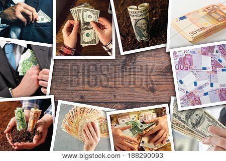 Business and entrepreneurship photo collage over wooden background