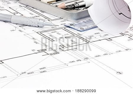 House Floor Plan Blueprints And Drawing Tools Closeup
