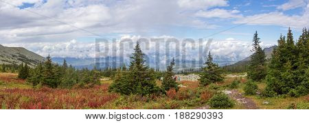 Panoramic View Of The Mountains And Cliffs, South Ural. Summer In The Mountains.